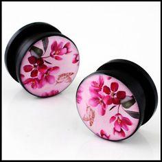 plugs and gauges flower | Japanese Flower Blossom Ear Flesh Tunnel Plugs Gauges | eBay
