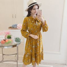 Material: cotton, polyester, chiffon Silhouette: A line Pattern Type: Print Sleeve length (cm): full Sleeve style: regular Waist: Empire Long Sleeve Floral Dress, Chiffon Dress Long, Chic Dress, Boho Dress, Bohemian Dresses Short, Vintage Long Dress, Dress Outfits, Fashion Outfits, Elegant Dresses For Women