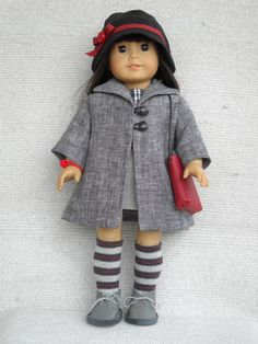 American Girl Doll Clothes - 8 piece outfit with Grey Coat and Hat. $36.00, via Etsy.