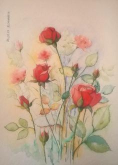 acquerello - rose rosse - 30x40 - carta Torchon 275gr.
