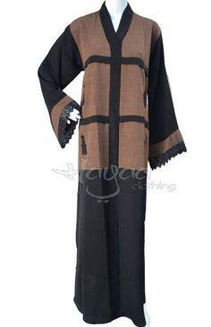 Hayaa Clothing BROWN Flare Sleeves Dubai Khaleeji Abaya