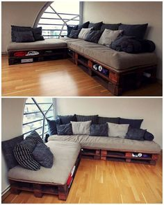 Are you looking for some lovely DIY outdoor furniture inspiration? See these wood pallet sofa ideas which look so adorable and easy to build! Diy Pallet Sofa, Diy Pallet Furniture, Diy Pallet Projects, Home Projects, Home Furniture, Furniture Design, Pallet Shelves, Furniture Ideas, Diy Couch