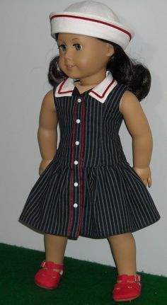 Navy Sailor Dress and Hat for AG by SugarloafDollClothes via Etsy   $54.00