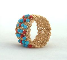 Great gift for ethnic lovers. Rings – crochet gold wire ring with turquoise and corals – a unique product by 7ART-Jewelry via en.DaWanda.com