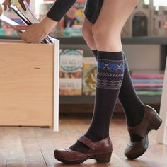 Compression Socks in Stylish Fair Isle. In 4 sizes including Wide Calf for those who like a little extra room. Buy today at Ease Living