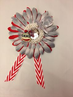 sock monkey theme baby shower corsage by on etsy