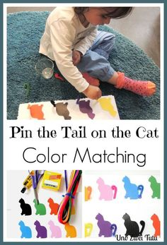 Pin the tail on the cat. Cat color matching activity for toddlers and preschoolers. With Free Printable.