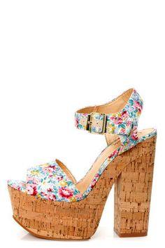 Luichiny Vic Toria Mint Floral Print Platform Sandals