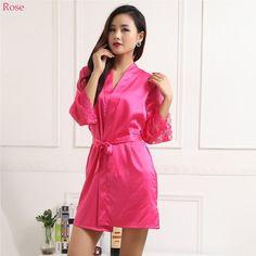 Satin Chiffon Robe Spring Summer Sexy Women Bathrobe Sleep Robes Ladies Home Clothes