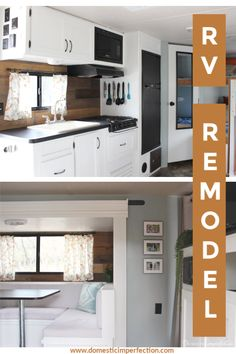 RV remodel reveal - post includes before and after pics (such a difference!), tutorials on all projects, and a budget breakdown. remodel before and after RV Remodel - Dark and Dated to Bright and Inviting! Camper Renovation, Home Renovation, Rv Interior Remodel, Exterior Remodel, Interior Doors, Camper Makeover, Trailer Remodel, Remodeled Campers, Basement Remodeling