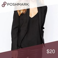 """Black One Button Blazer Excellent condition.  Bought at Nordstrom. Black blazer with slimming silhouette, one button, two front functioning flap pockets, and long sleeves, fully lined.  Approx measurements laying flat: shoulder to shoulder 14"""", chest 17"""", length 22"""".  Size small in juniors = size 2 and in women's = size 0. Frenchi Jackets & Coats Blazers"""