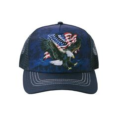 5d594f832fa69 The Mountain American Flag Bald Eagle Talon Patriotic Snapback Trucker Hat  Cap  TheMountain  TruckerHat
