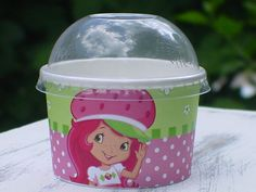 Strawberry Shortcake party favor cups with lids by PrissyParty, $12.00