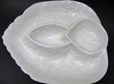 $39.95 Vintage Italian Marked White Majolica Pottery Asparagus Artichoke Plate Signed