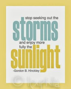 Stop seeking out the Storms and enjoy more fully the Sunlight | Inspirational Quotes