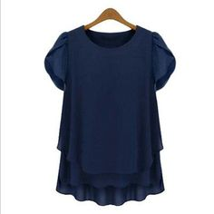 M L XL XXL 3XL 4XL 5XL Plus Size chiffon blouse Summer O Neck short sleeve casual shirts Yellow Navy White Black women tops