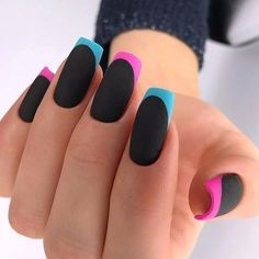 AND HOTTEST FRENCH NAIL ART DESIGNS IDEAS 2019 : French manicure creates a long lasting visual effect on the fingers, and now French manicures are derived from a variety of color variations, and there are a variety of nail inspirations that are i French Nails, French Manicures, Colorful French Manicure, Nail Lacquer, Nail Polish, Pretty Nail Art, Long Acrylic Nails, Dream Nails, Beautiful Nail Designs