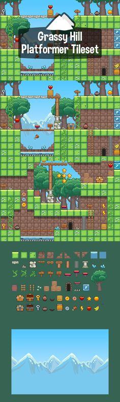 Before you Grassy Hill Platformer Game Tileset. This set is perfect for creating colorful and fabulous levels for adventure games Game Maker Studio, Game 2d, Video Game Development, Unity 3d, Game Assets, Sprites, Mobile Game, Game Design, Pixel Art