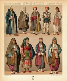 Turkish/Turkiye costume print by Racinet  1888