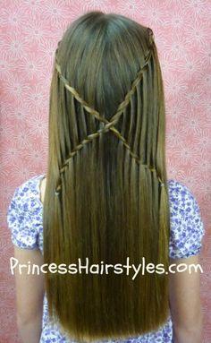 "Waterfall twist ""x braid"" #hairstyles tutorial  http://www.princesshairstyles.com/2013/02/criss-cross-waterfall-twist-braids.html#"