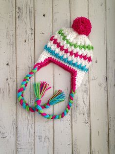 Girl Winter Crochet Knit Striped Hat White and by NewYarnCreations