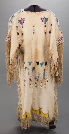 Kiowa Beaded Hide Dress (BACK) - c. 1910.  -------  (Vedauwoo Antiquities)