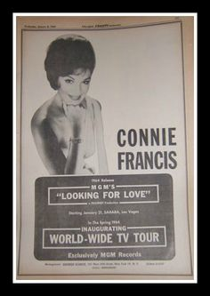 Miss Connie Francis ………………..For more classic 60's and 70's pics please visit and like my Facebook Page at https://www.facebook.com/pages/Roberts-World/143408802354196