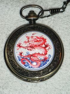 NEW Classic Red Chinese Dragon Pocket Watch