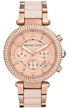 This beautiful Michael Kors MK5896 womens analog quartz watch features a rose gold dial glitz bezel 3 subdials date display and a two tone stainless steel case and band. #Fashion  #Watch