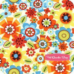 Bright Owl Cream Packed Floral Yardage SKU# C8367-Cream - Fat Quarter Shop