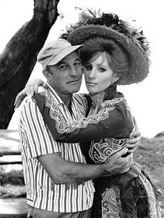 Gene Kelly and Barbra Streisand on the set of Hello Dolly