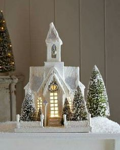 Christmas Decor Bethany Lowe Designs Large Ivory Church *** Check this awesome product by going to the link at the image. Church Christmas Decorations, Christmas Village Houses, Putz Houses, Christmas Villages, Christmas Home, Vintage Christmas, Miniature Christmas, Christmas Figurines, Christmas Ornaments