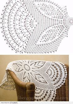 Doily chart: szydełkiem i na drutach na Stylowi. Use t-shirt yarn and make this into a rug Crochet Table Runner Pattern, Crochet Doily Patterns, Crochet Tablecloth, Crochet Mandala, Crochet Motif, Crochet Designs, Crochet Flowers, Filet Crochet, Crochet Round