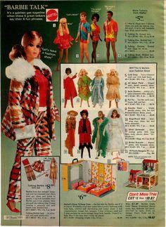 Talking Barbie, P.J., Ken, Christie & Brad, Barbie Fashions, Barbie & P.J. Sleep 'n Keep Case and Lively Livin' House from the Sears Christmas Catalog, 1972