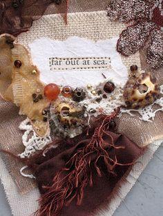 textile artist photography and mixed media - Carolyn Saxby Textile Art St Ives Cornwall Carolyn Saxby, St Ives Cornwall, Midnight Sky, What Inspires You, Textile Artists, Vintage Crochet, Burlap Wreath, Hand Stitching, Fiber Art