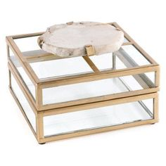 Napa Home and Garden Fossilized Clam Glass Display Decorative Box - JP205, Durable