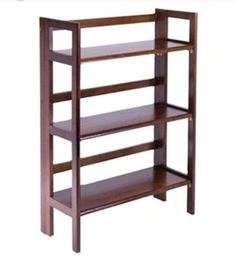 Contemporary Foldable Bookcase Home Office Furniture Antique Walnut Finish New