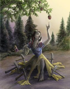 Zombie Princess Snow White - by Rob Carlos. Okay so, Rapunzel is a zombie hunter. Zombie Disney, Princesas Disney Zombie, Disney Princess Zombie, Disney Horror, Zombie Cartoon, Disney Pixar, Disney Fan Art, Dark Disney Art, Emo Disney