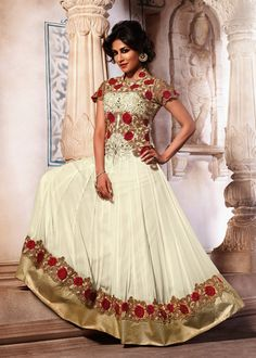 Chitrangada Singh Off White Georgette Anarkali Salwar kameez Online Shopping : 296SL07