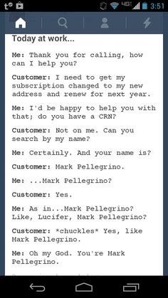 """My brother's got friends, last name Pellegrino.....I swear there's a Mark in there somewhere. Not the one who plays Lucifer though, but it still made me stop and go """"wha"""""""