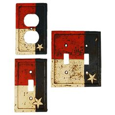 This Texas Flag switch plate cover has a weathered finish and an upraised  Texas star.