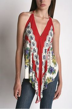 Urban Outfitters Kimchi Scarf Print Halter Top