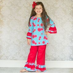 Lolly Wolly Doodle Aqua Flower Red Corduroy Ruffle pant Set 9/24