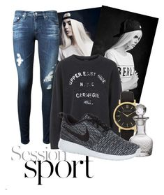 """Untitled #16"" by zerina1993 ❤ liked on Polyvore featuring AG Adriano Goldschmied, Topshop, Larsson & Jennings, Cultural Intrigue and NIKE"