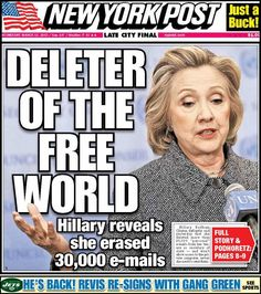"New York Post blasts Hillary on today's cover. LOL'S This is a criminal act, her computers need to be impounded and gone through byte by byte. Can you say ""cover-up"" She broke the law. Why isn't Congress all over this. Were talking matters of national security here!"