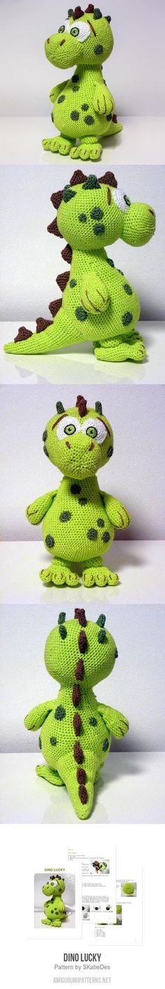 Dino Lucky amigurumi pattern by shari Crochet Amigurumi, Knit Or Crochet, Cute Crochet, Amigurumi Patterns, Crochet Crafts, Crochet Dolls, Crochet Baby, Crochet Projects, Crochet Dinosaur