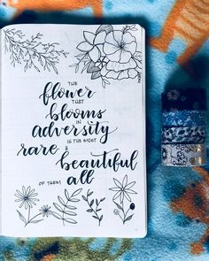 Bullet journal motivational quotes, flower drawings. | @allthingstifff