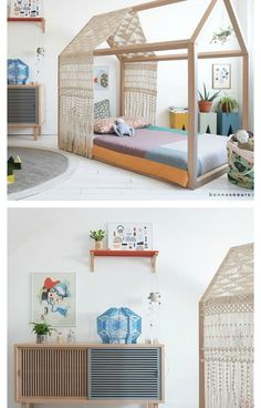 An amazing kids room with artistic flair and lots of little treasures - kids room decor - kids space interior - kids nooks - kids room decorations - fun kids rooms - cool kids rooms, children's rooms - kid space decor - fun kids spaces, cool kid spaces Casa Kids, Dream Kids, Nice Dream, Kids Room Design, Design Bedroom, House Beds, House Bed Frame, Little Girl Rooms, Boy Rooms