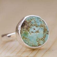 Modern Turquoise Ring in Sterling Silver Size 8
