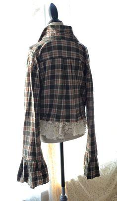 Festival flannel lace crop top Bohemian gypsy by TrueRebelClothing